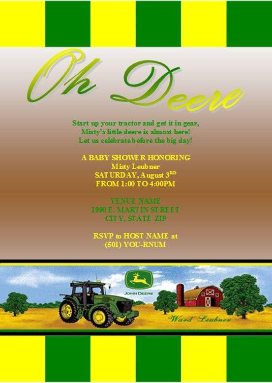 My John Deere Baby Shower Invitation Finalized Design I M Happy