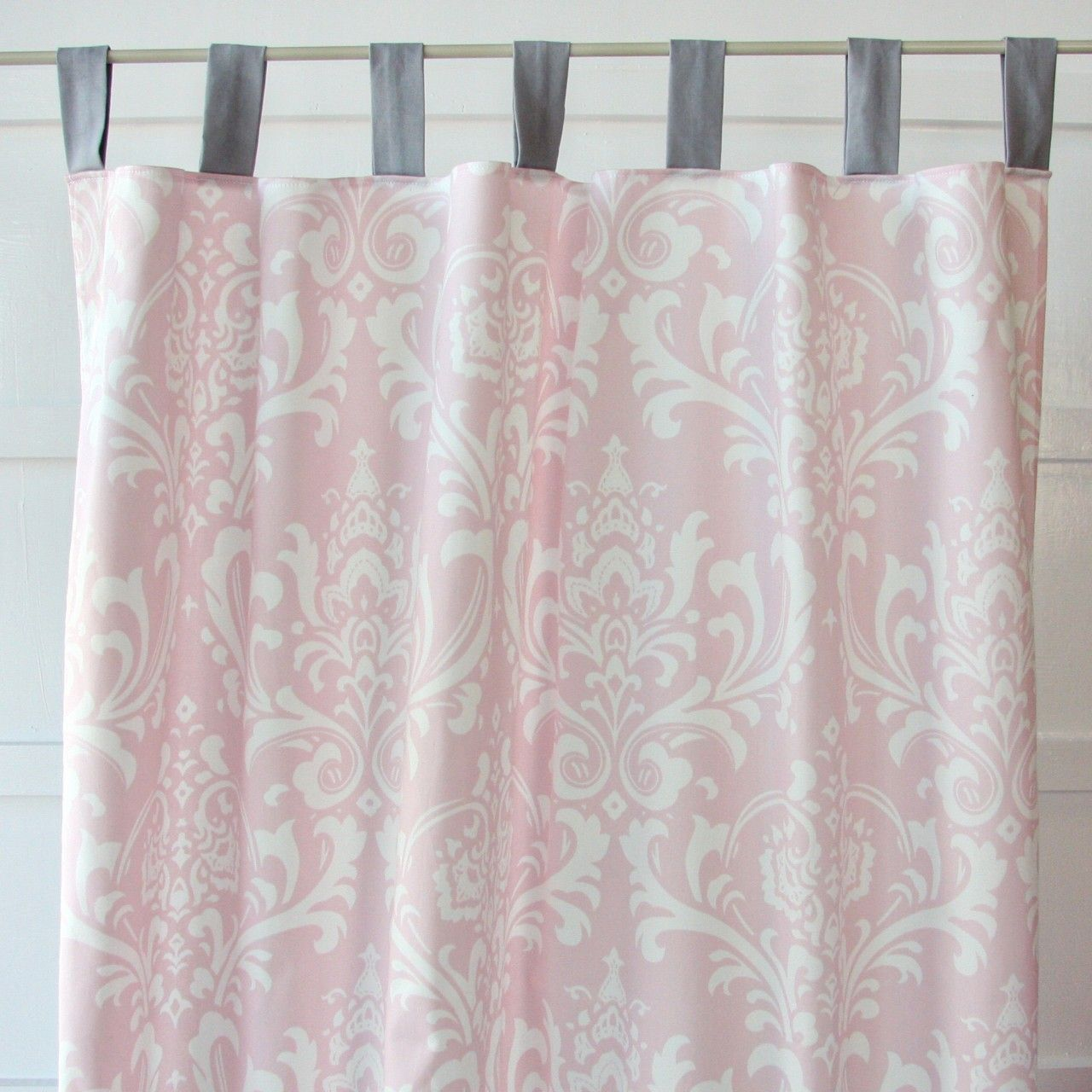 Sweet Lace Damask Pink And Gray Curtain Panels