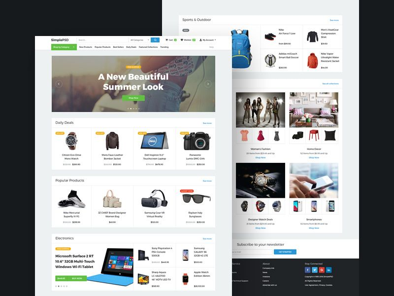 Free Minimalistic Ecommerce Website Template Psd Ecommerce Template Ecommerce Website Design Ecommerce Website Template