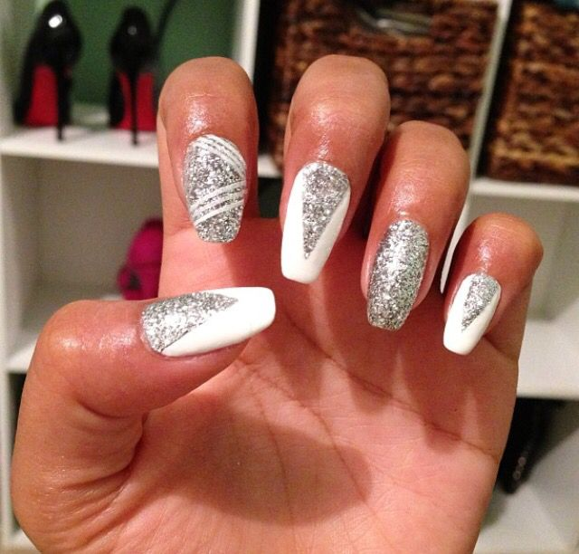 White And Silver Nails Nails Pinterest Silver Nail Prom Nails
