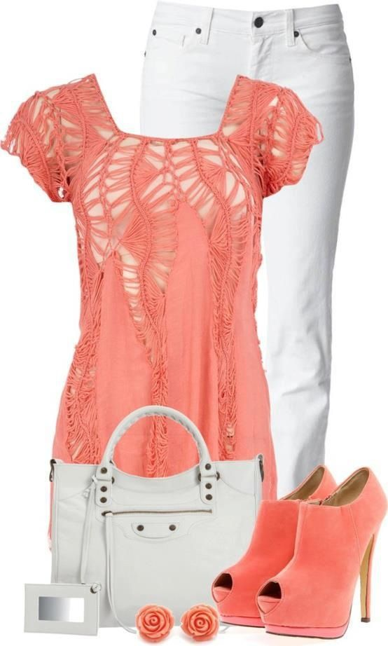 Stylish Eve Combo= beautiful coral top
