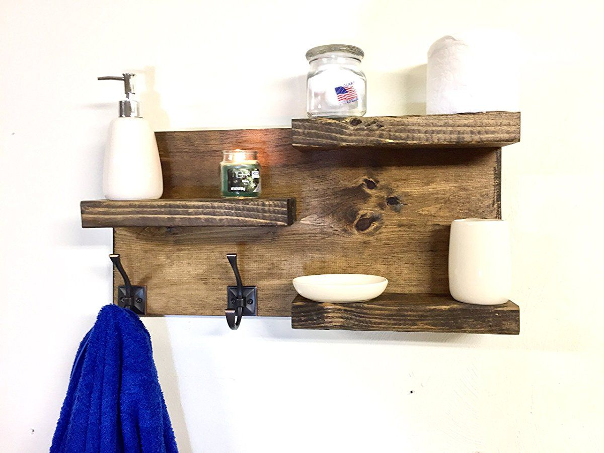 Bathroom Shelf Rustic 3 Tier With 2 Towel