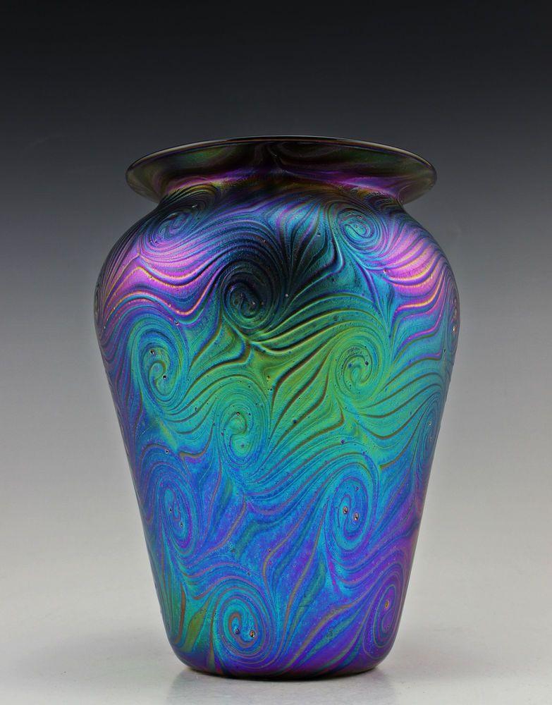 Glamorous Bohemian Art Deco Glass Cabinet Iridescent Glass Vase