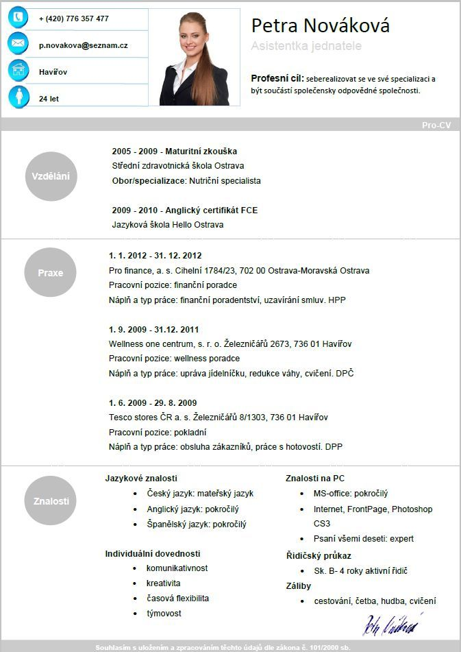 Pro-CV 5. vzor žena. Více informací zde http://www.pro-cv.cz/produkt ...