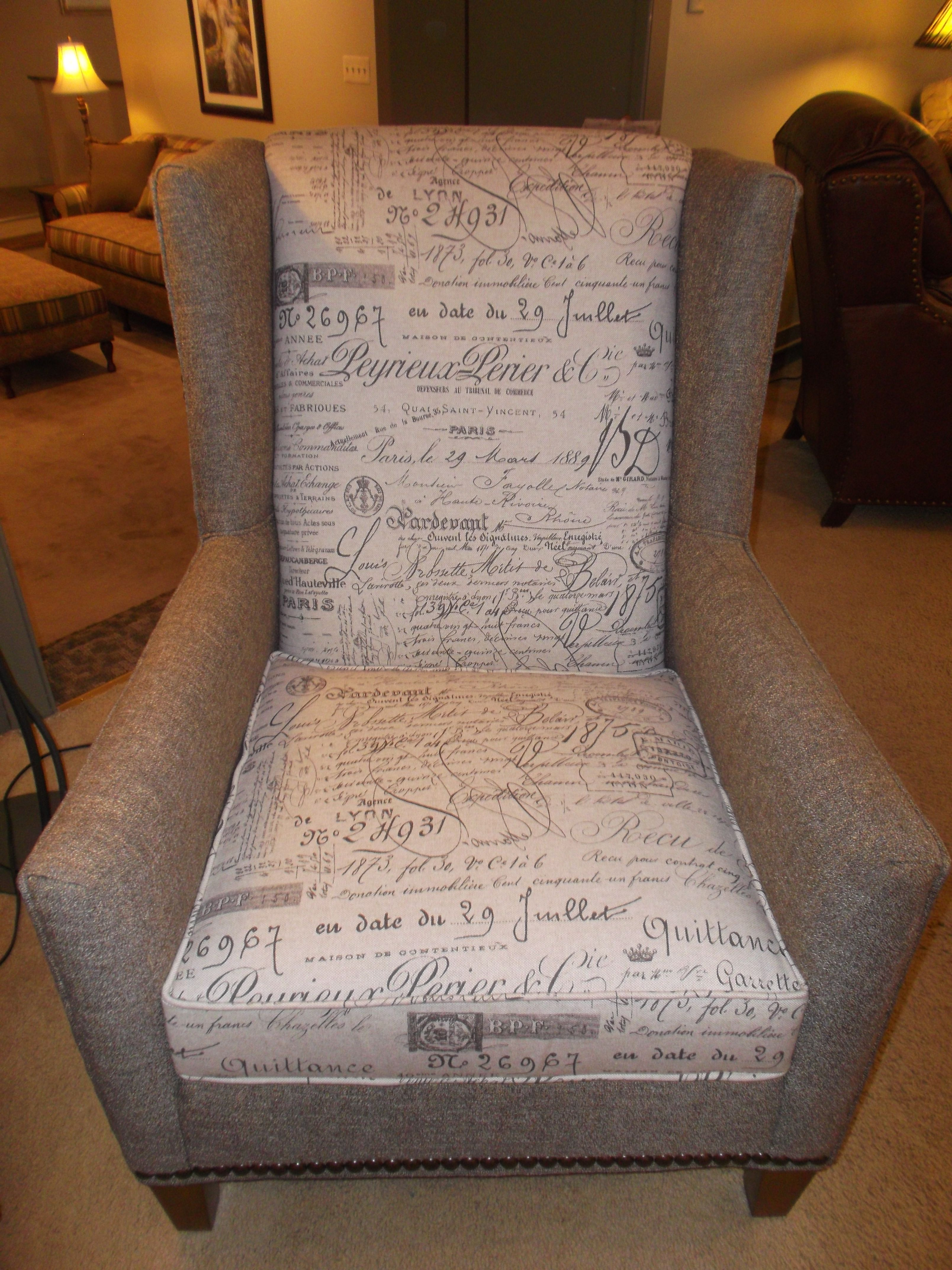 Retro Modified Wing Chair Nailhead Trim Toile 1887 Products We Love Pinterest