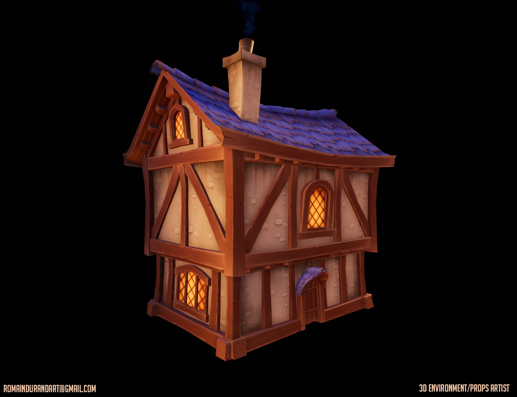Artstation Weekend Project Hand Painted House Romain Durand House Painting Weekend Projects Durand