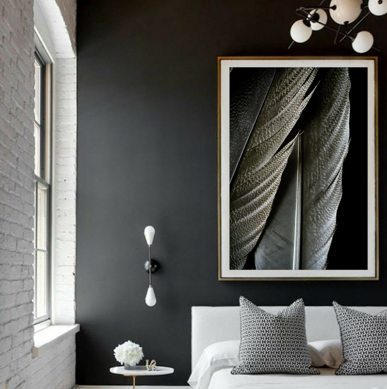 Feather Wall Art Fine Art Photograph Modern Decor Dark Moody Still Life Large Bohemian Style Poster Earthy Tone Nature Picture Photography Prints Art Fine Art Photography Print Fine Art Photographs
