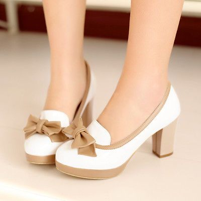Womens Bow Sweet Candy Lolita Block High Heel Leather Casual Shoes Plus Size 9