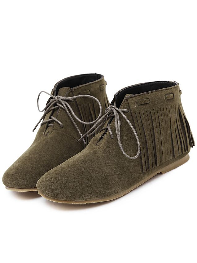 Army Green Round Toe Tassel Boots 38.80