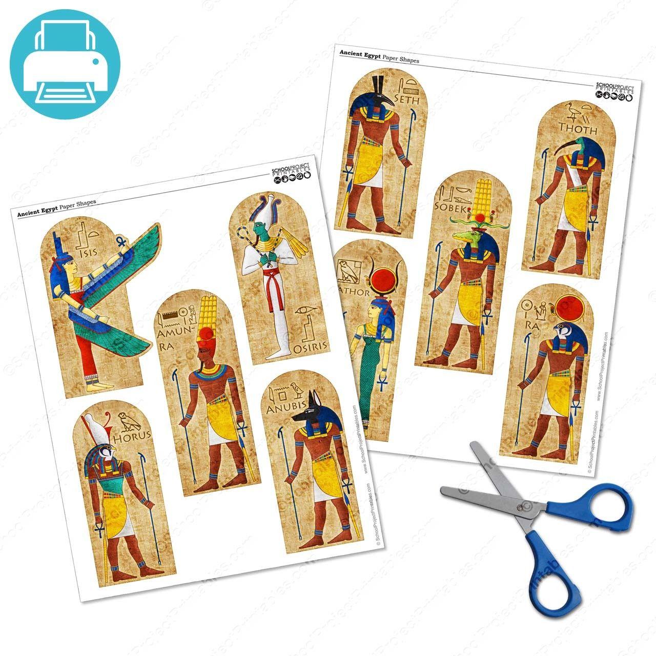 Ancient Egyptian Gods Clip Art Icon Symbols Set Printable