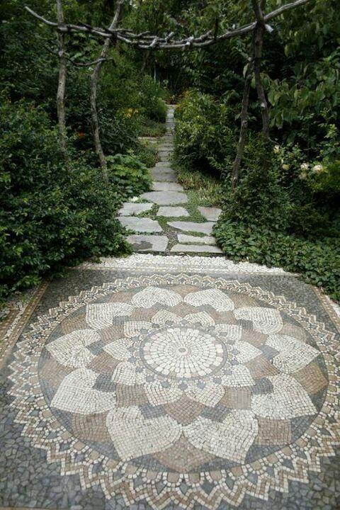 Bohemian Path Tarot: Mandala Flower Mosaic Floor Patio Walkway Garden Path