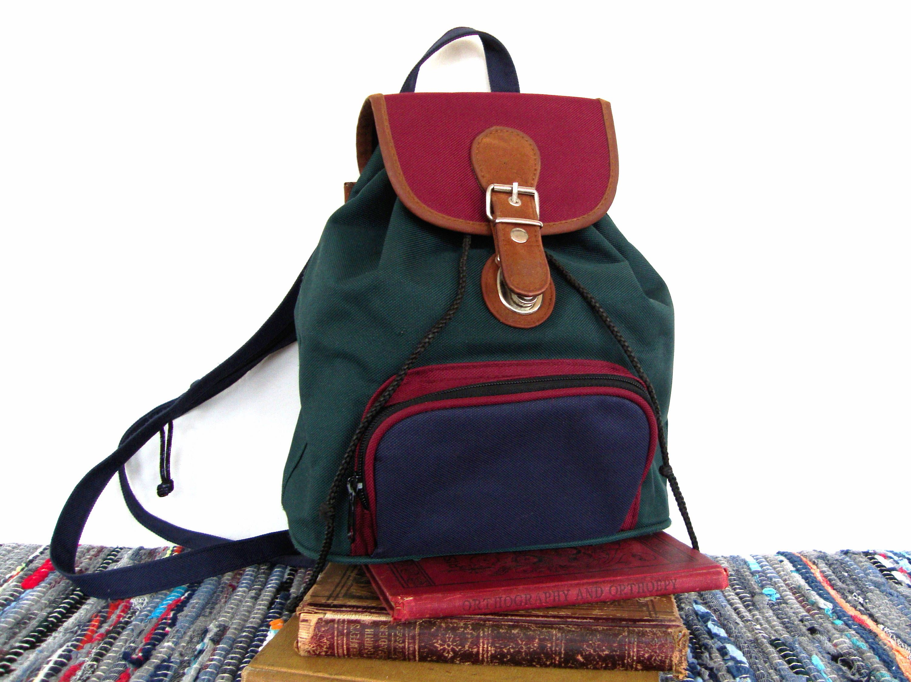 9797a383539 Vintage 90s Mini Backpack Purse Canvas Leather Miniature Book Bag 90s  Fashion Hunter green Blue and Burgundy by MODernThrowback on Etsy