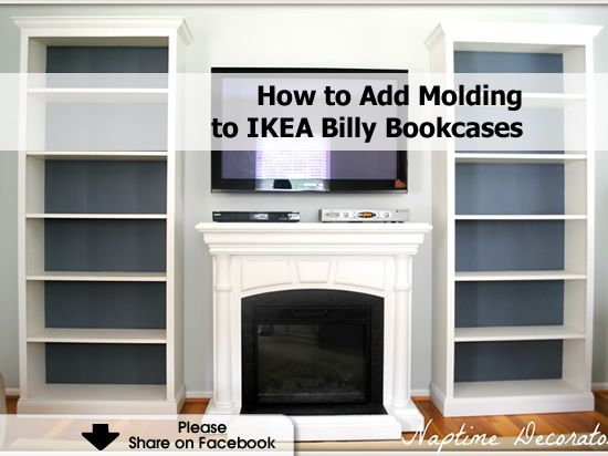 How to add molding to ikea bookshelves u2026 ikea hack pinterest