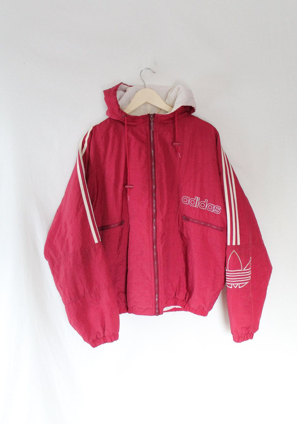 Vintage 90's classic Adidas hooded black shell bomber jacket
