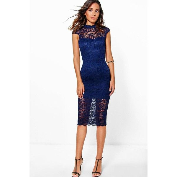 Boohoo Night Josey All Over Lace Cap Sleeve Midi Dress (£29) ❤ liked on  Polyvore featuring dresses 06cc6a490