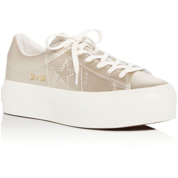 e6db4843843 Converse Women s One Star Leather Lace Up Platform Sneakers ( 90) ❤ liked  on Polyvore featuring shoes