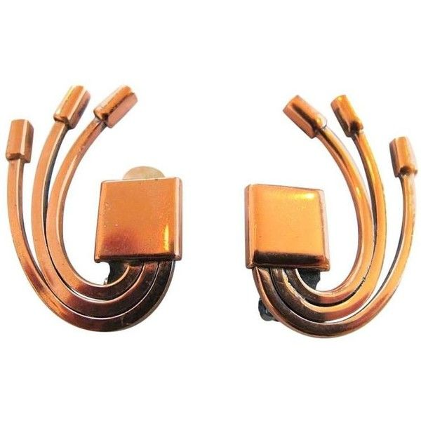 Preowned Vintage 1950 S Renoir Copper Clip Earrings 255 Nzd Liked On Polyvore Featuring