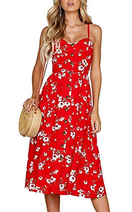 d25e1b3d56 Angashion Women s Dresses-Summer Floral Bohemian Spaghetti Strap Button  Down Swing Midi Dress with Pockets O860 Navy Blue S at Amazon Women s  Clothing store ...