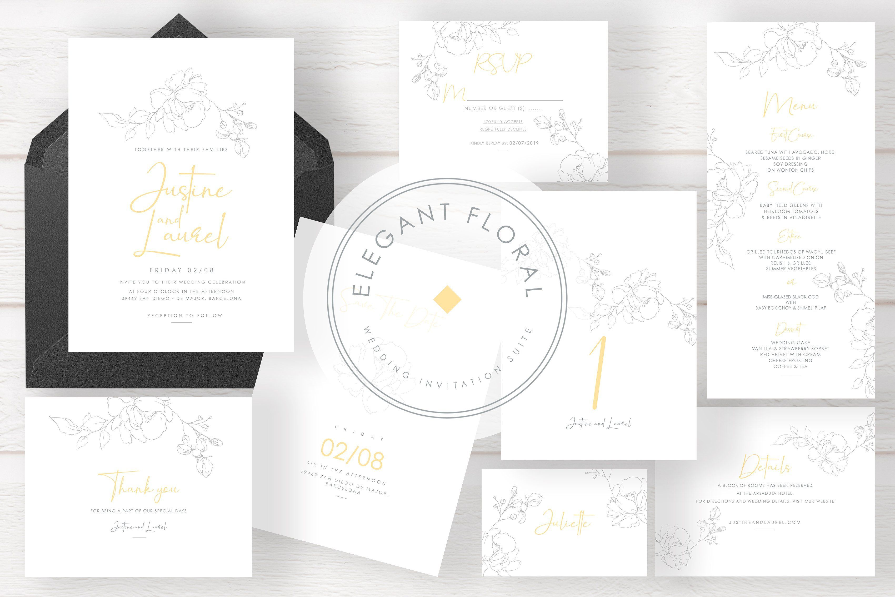 Elegant Floral Wedding Invitation Suite A Watercolor Leaf Themed