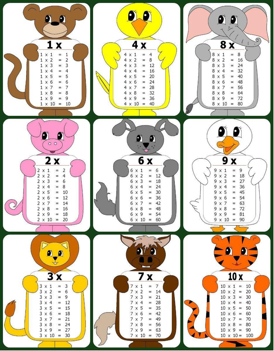 Imágenes con las tablas de multiplicar del 1 al 10. Tamaño carta ...