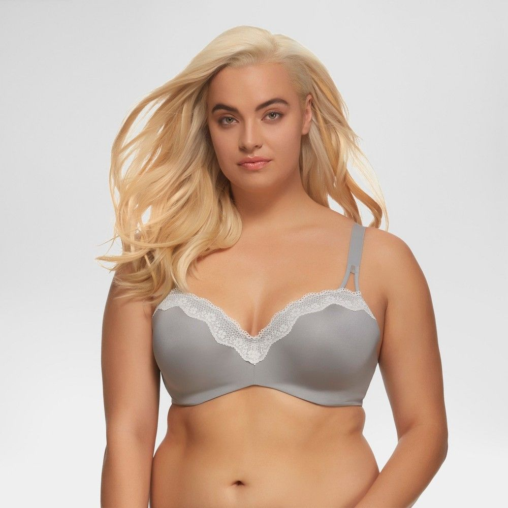 eb2e3138e9 Paramour Women s Brilliance Lace Trim Seamless Bra - Gray 32C T Shirt Bra
