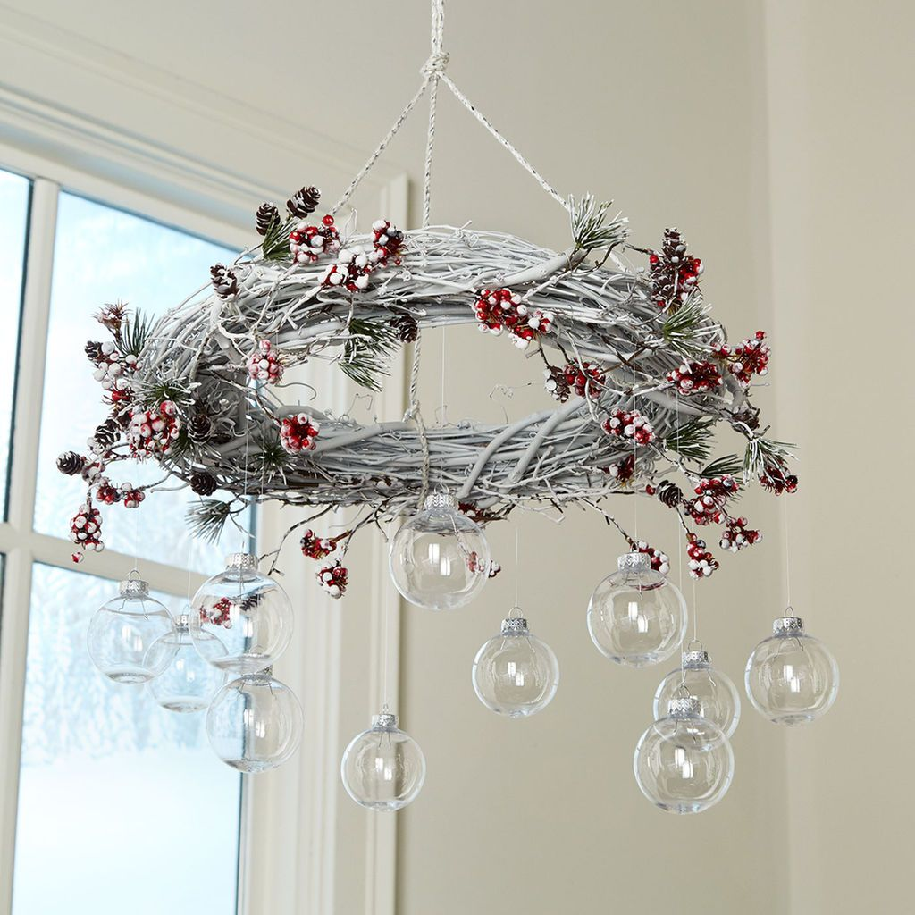 This Easy To Make Diy Christmas Wreath Chandelier Will Add A Special Touch Your Holiday