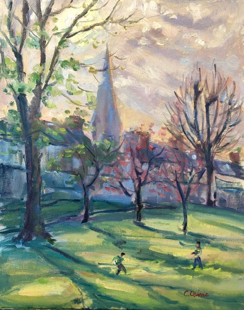 Bright Afternoon At The Park March By Caitriona Osborne Artclickireland Com Shadow Painting Spring Tree Oil Painting On Canvas