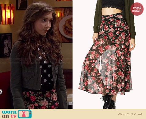 Riley's floral midi skirt on Girl Meets World. Outfit Details ...