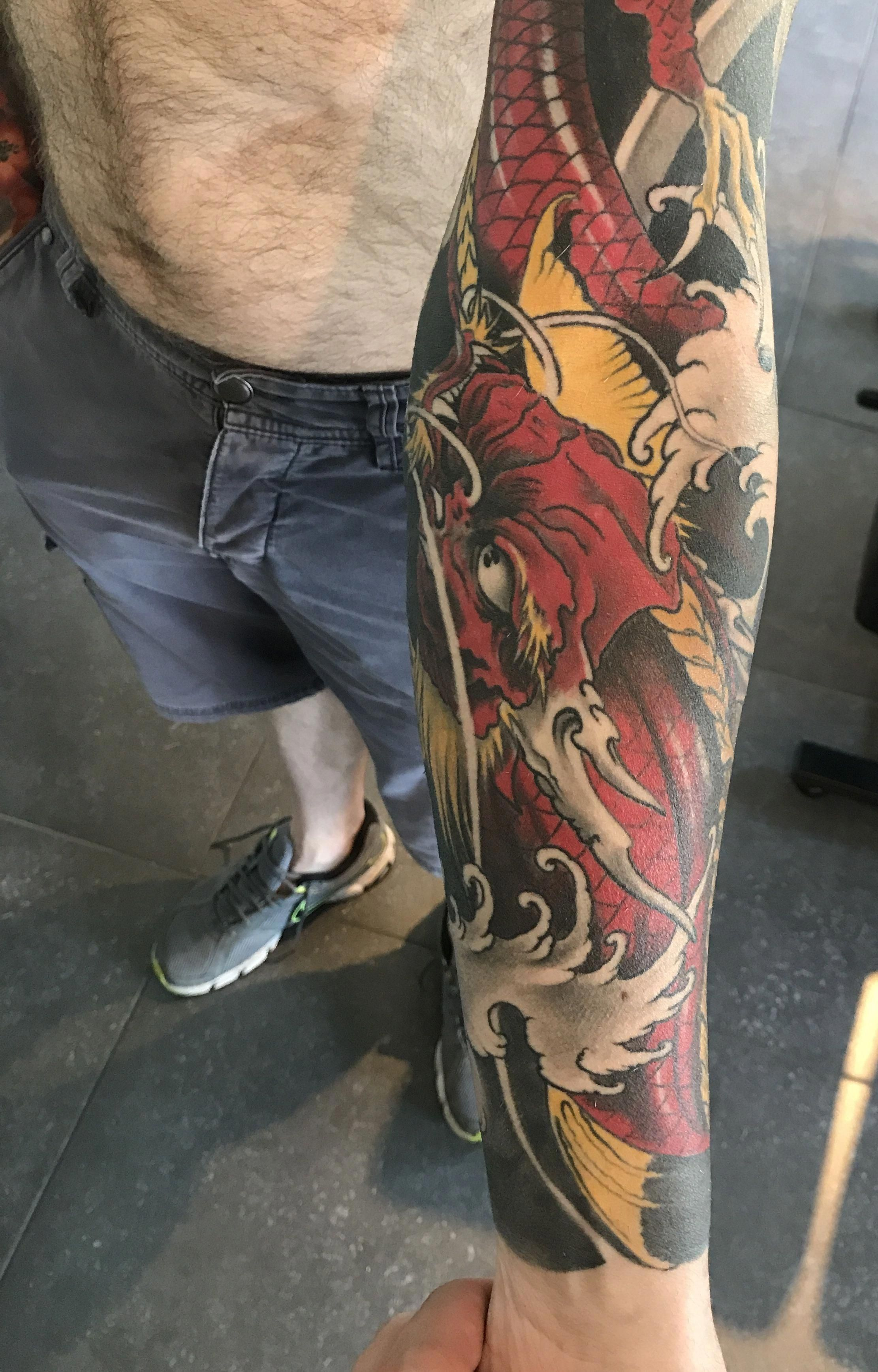 I Sincerely Fancy The Different Colors Lines And Linework This Is Definitely The Perfect Tattoo Design If Yo Tattoos Japanese Sleeve Tattoos Sleeve Tattoos