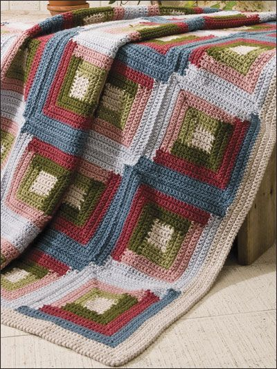 Log Cabin LW1424 | Free Patterns | Yarn | grannie squares ...