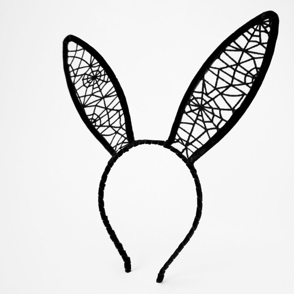 Spiderweb Bunny Ears Headband Black Claire S Bunny Ears Headband Ear Headbands Bunny Ear