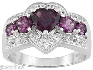 Rich Pink-Purple Rhodolite Garnet & White Topaz .925 Sterling Silver Heart Ring