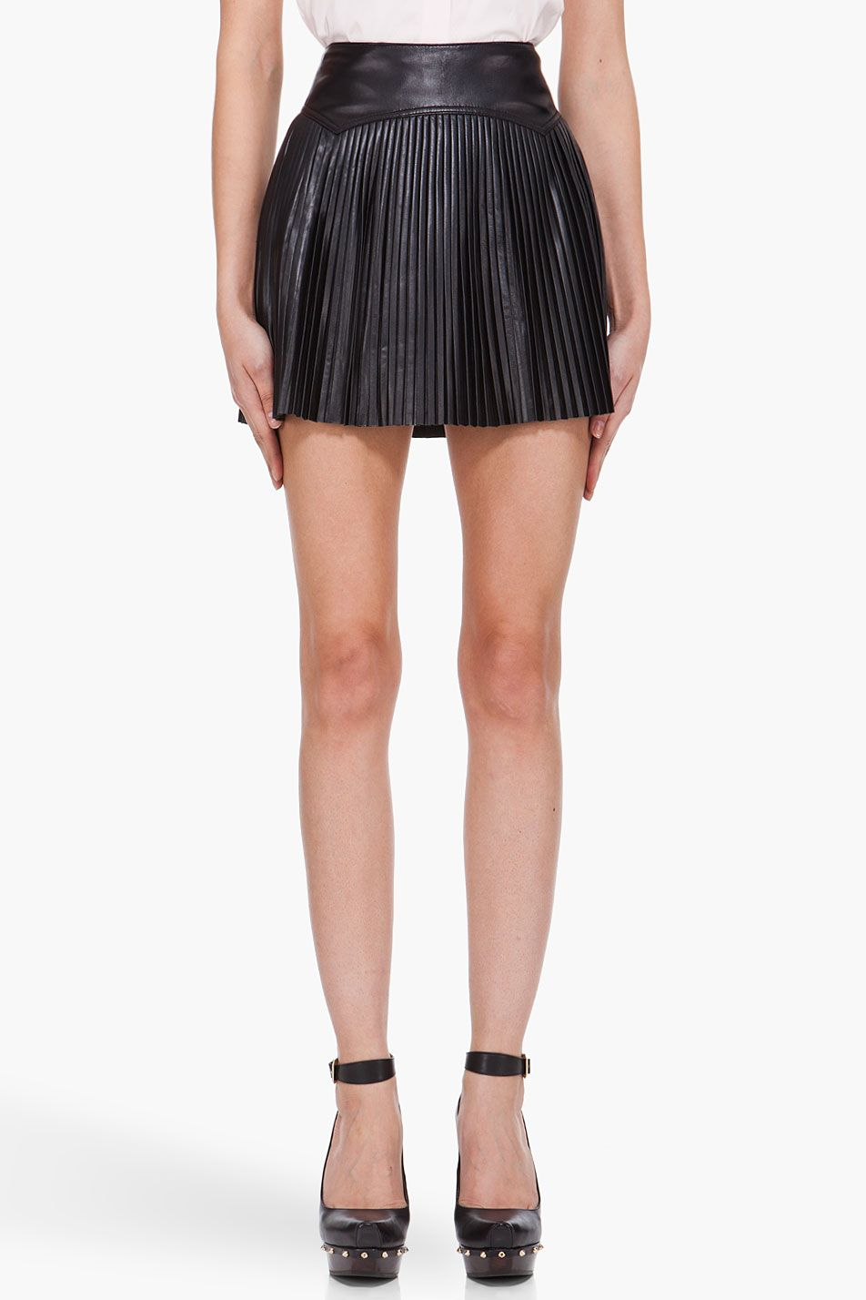 76b3b8490034 MCQ ALEXANDER MCQUEEN Black Pleated Leather Skirt | Slate. Smoke ...