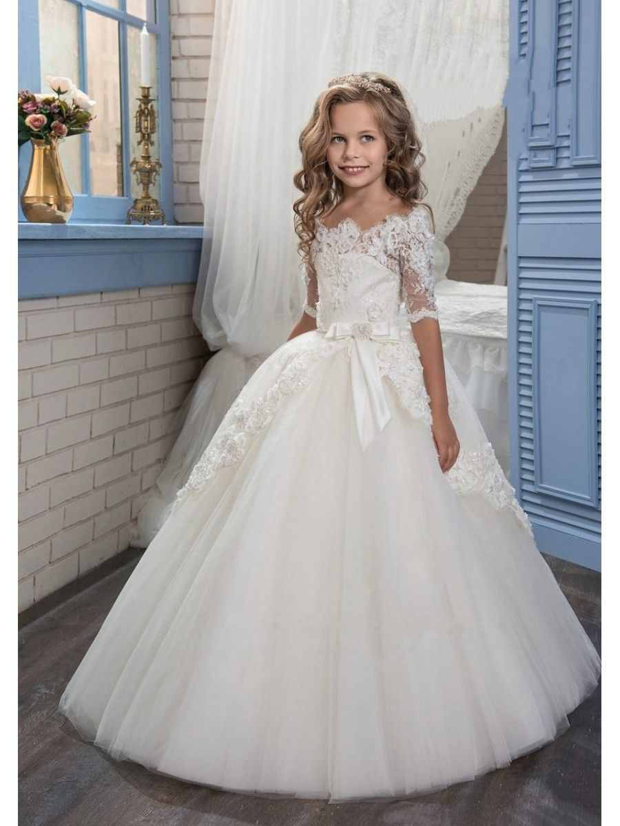 Lace Tulle Off-the-Shoulder Princess Ball Gown Flower Girl Dresses ...