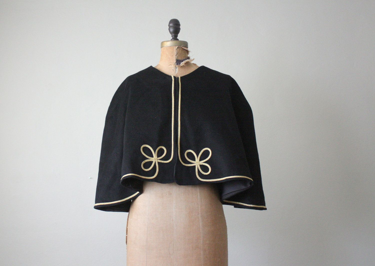 Black wool cape from the 1940s.