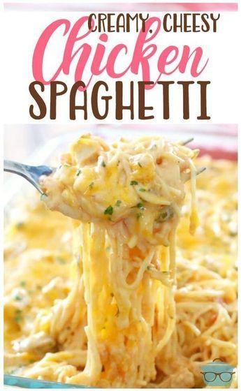 Creamy cheesy chicken spaghetti images