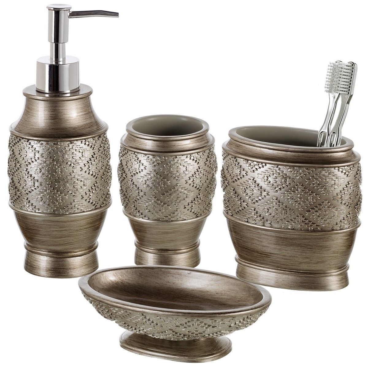 and Tumbler Cup Soap Dish and Dispenser Toothbrush Holder Gift Package by Creative Scents 4 Piece Bathroom Accessory Set Mirror Damask Style