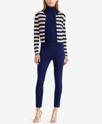 Lauren Ralph Lauren Striped Metallic Cardigan - Navy/Gold M ...