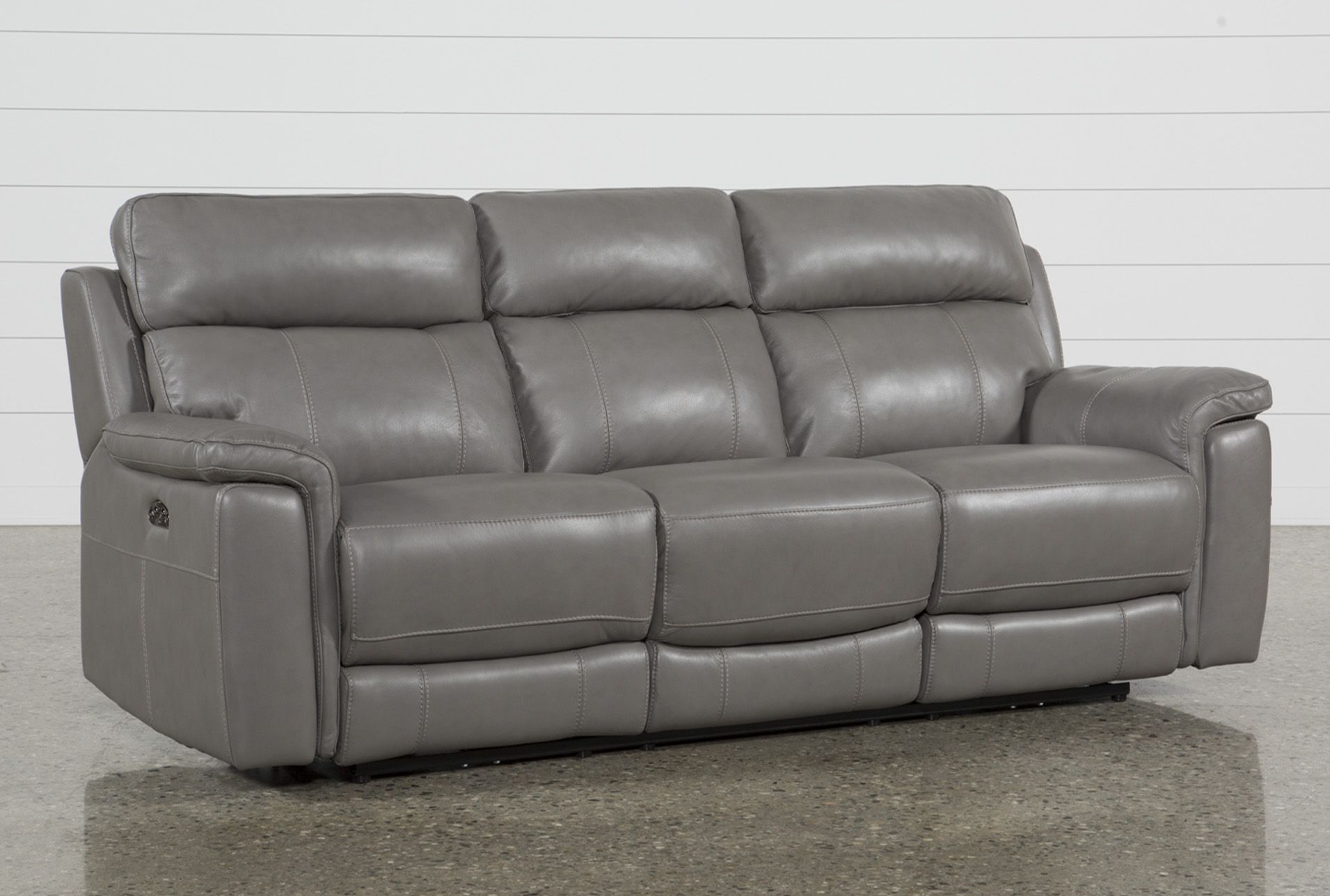 Stupendous Dino Grey Leather Power Reclining Sofa W Power Headrest Caraccident5 Cool Chair Designs And Ideas Caraccident5Info