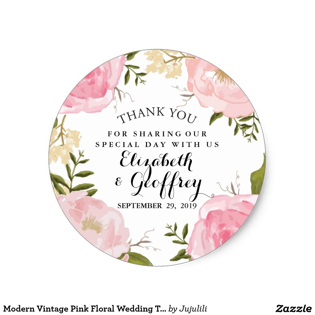 Modern Vintage Pink Floral Wedding Thank You Favor Classic Round ...
