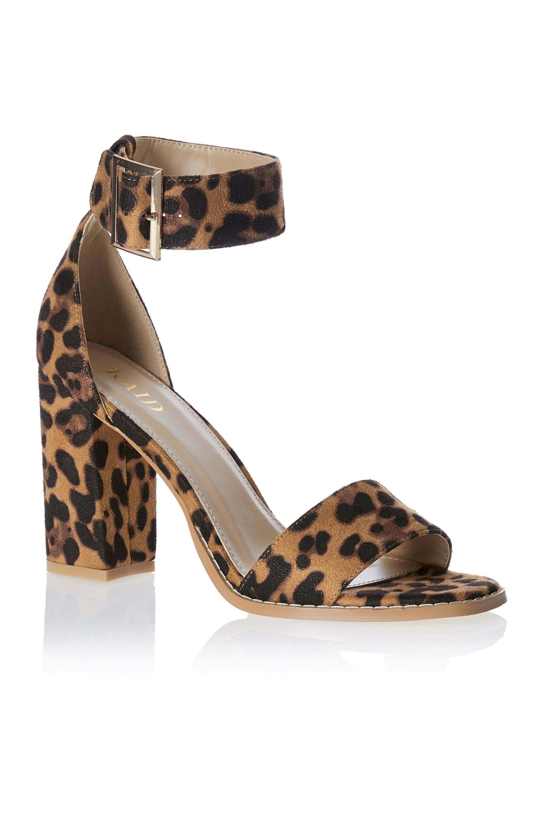 Womens Raid Leopard Print Block Heels