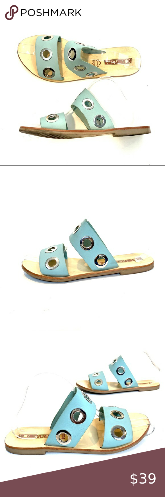SOL SANA | Hannah Slides Sol Sana Hannah Slides in Seafoam, Sz 38. Excellent used condition.  Features silver grommets, double strap. Leather upper. Sol Sana Shoes Sandals