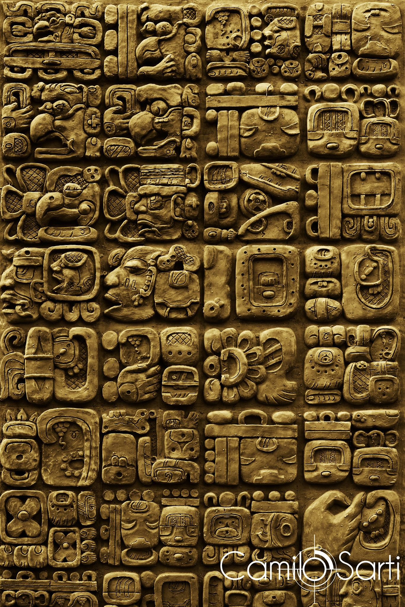 Arte America Prehispanica Details Of Maya Glyphs On A Stelae From The Archaeological Site Of