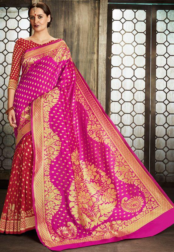6e44cbde37c6a6 Red and Rani Pink Pure Banarasi Silk Saree