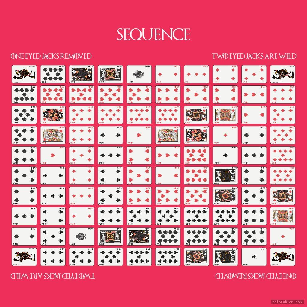 colorful sequence game board layout printable printabler