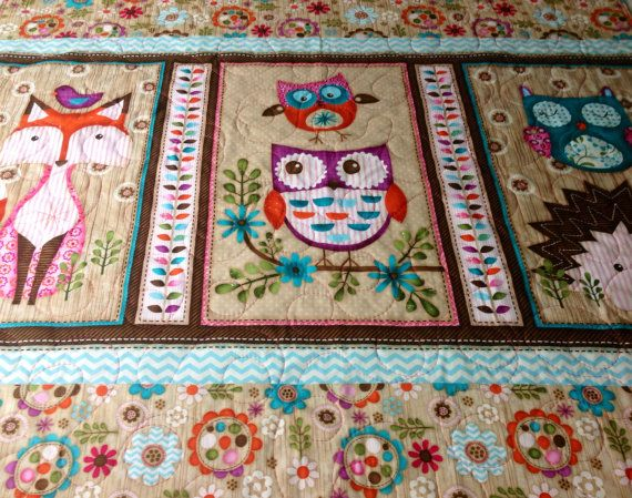 Baby Quilt Girl Woodland Critters Fox Owl Animals