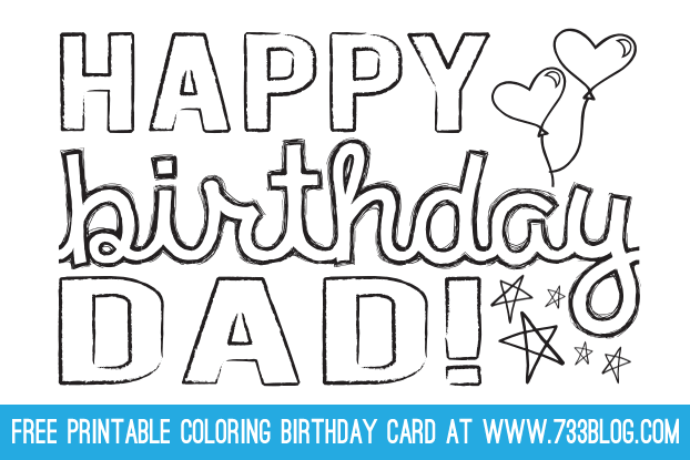 Dad Grandpa Printable Coloring Birthday Cards Dad Birthday