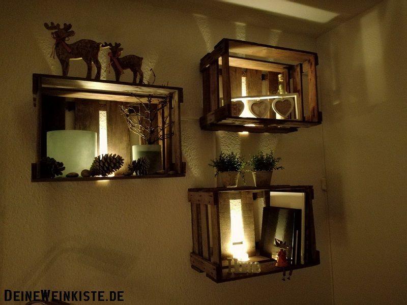 12 12 2016 Von Julia Winterliche Weinkisten Deko Hangend An Der