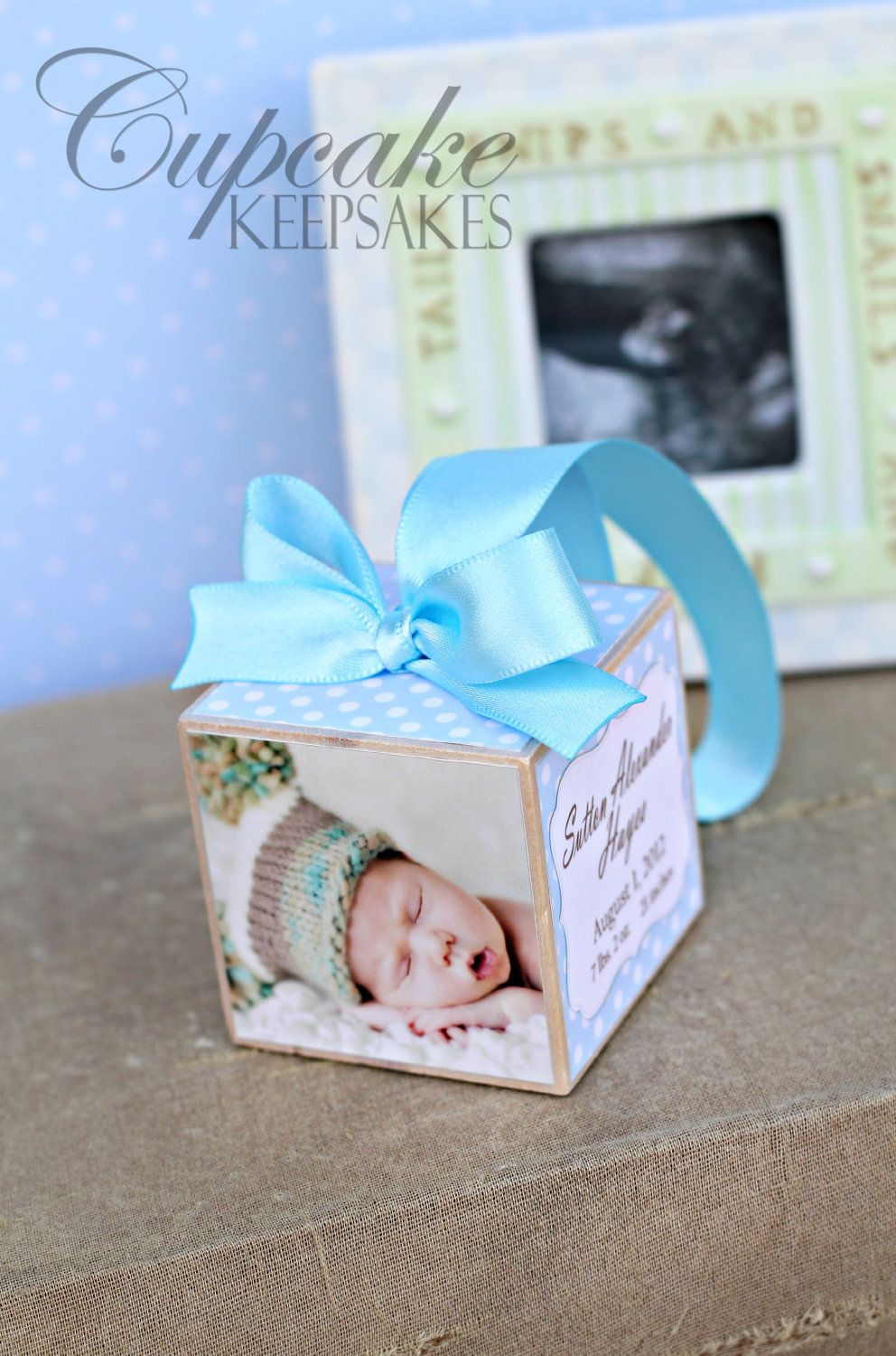 Personalized Photo Keepsake Baby Blue Polka Dots Birth Announcement