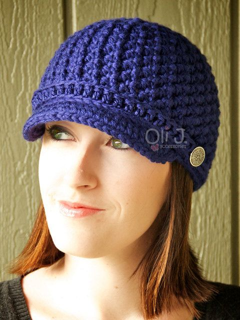 Womens Brimmed Beanie  Cobalt/Royal Blue by OliJAccessories, $25.00